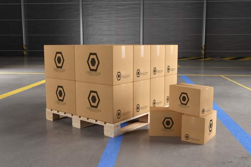 warehouse cardboard box mockup